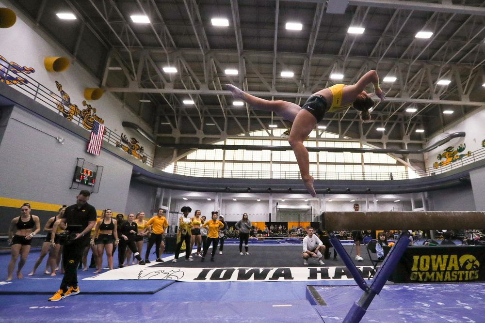 Maddie Kampschroeder performs on the beam during the Iowa women's gymnastics Black and Gold Intraquad Meet on Saturday, December 7, 2019 at the UI Field House. (Lily Smith/hawkeyesports.com)