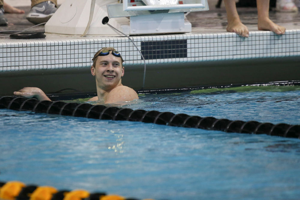 Iowa's Aleksey Tarasenko smiles after swimming the 200-yard freestyle during the Iowa swimming and diving meet vs Notre Dame and Illinois on Saturday, January 11, 2020 at the Campus Recreation and Wellness Center. (Lily Smith/hawkeyesports.com)