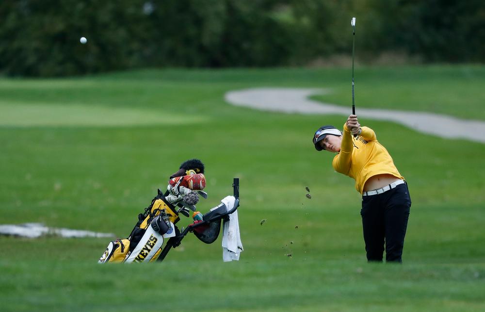 Iowa's Shawn Rennegarbe hits an approach shot during the Diane Thomason Invitational at Finkbine Golf Course on September 29, 2018. (Tork Mason/hawkeyesports.com)
