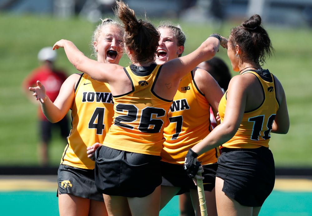 Iowa Hawkeyes Maddy Murphy (26) celebrates with Makenna Grewe (4) and Ellie Holley (7) after scoring against Indiana Sunday, September 16, 2018 at Grant Field. (Brian Ray/hawkeyesports.com)
