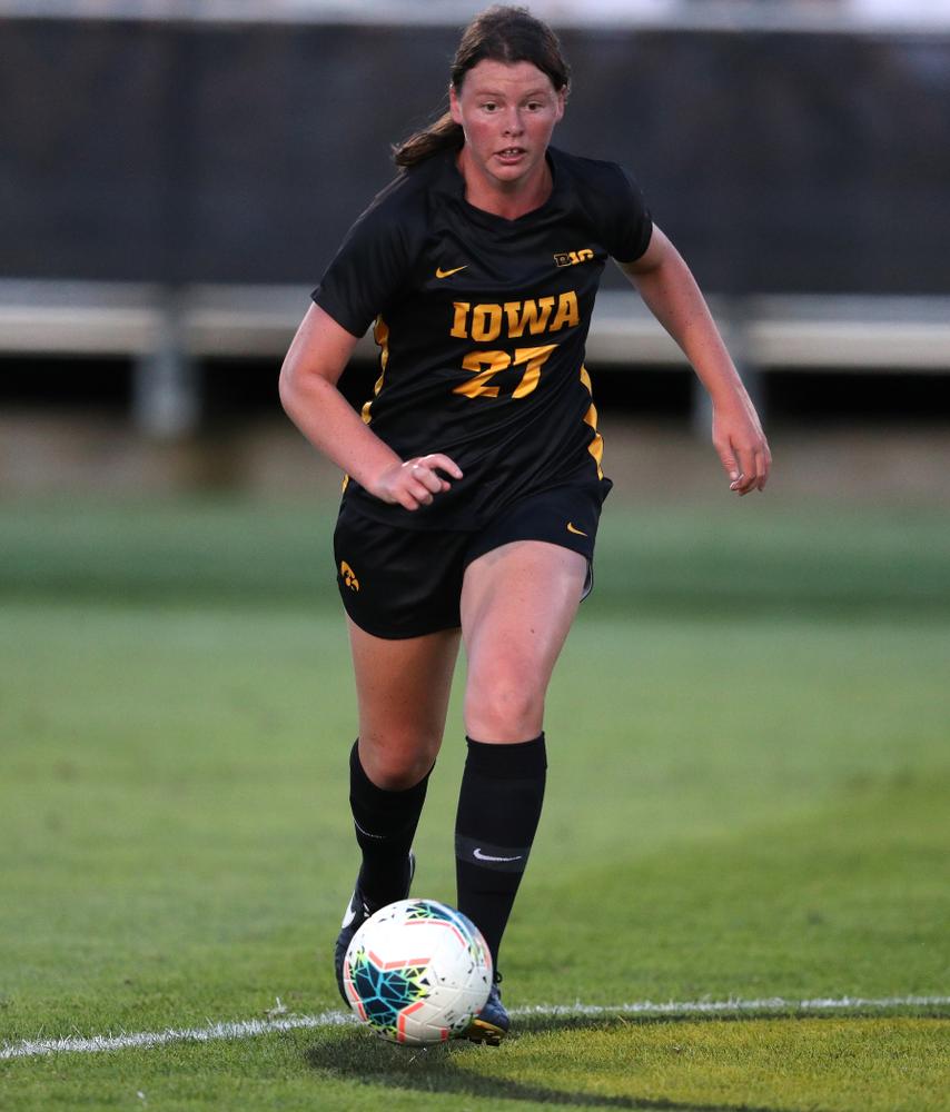 Iowa Hawkeyes forward Samantha Tawharu (27) against Western Michigan Thursday, August 22, 2019 at the Iowa Soccer Complex. (Brian Ray/hawkeyesports.com)