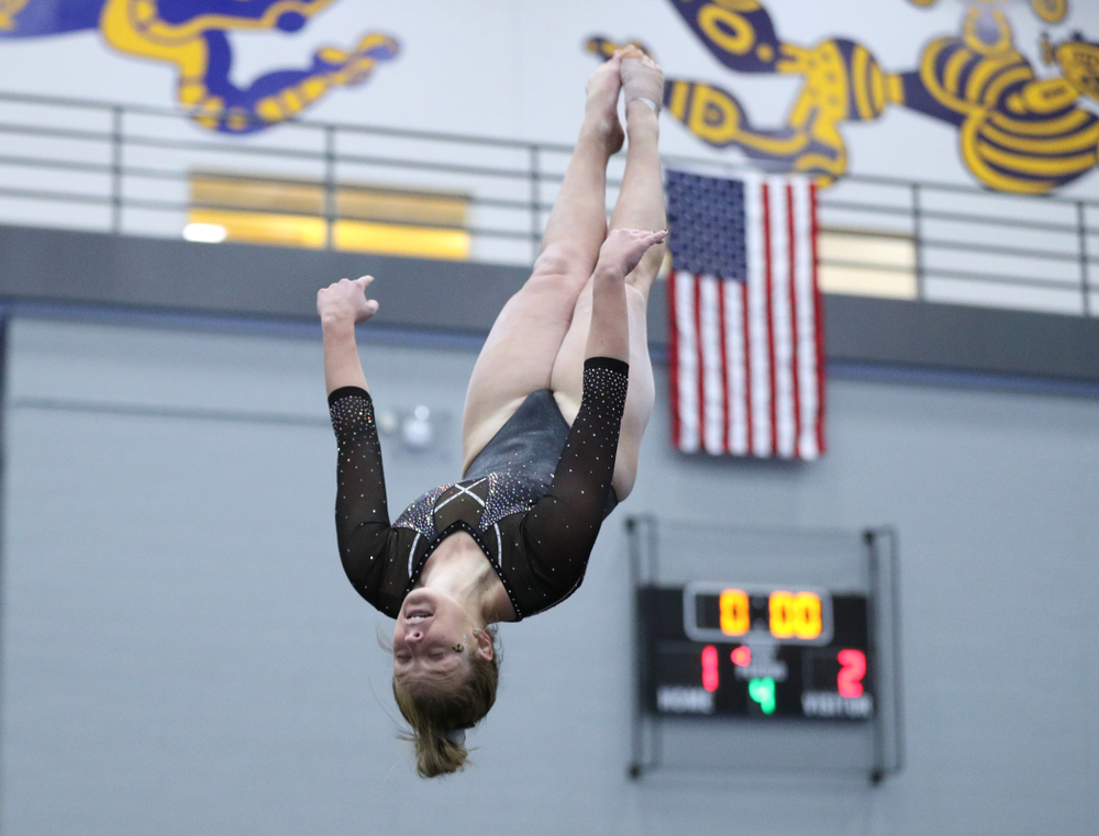 Sydney Hogani competes on the floor during the Black and Gold intrasquad meet Saturday, December 1, 2018 at the University of Iowa Field House. (Brian Ray/hawkeyesports.com)