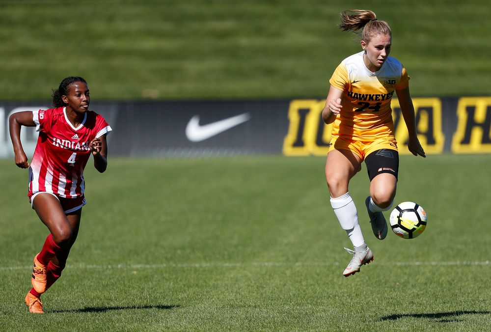 Iowa Hawkeyes defender Sara Wheaton (24) dribbles the ball during a game against Indiana at the Iowa Soccer Complex on September 23, 2018. (Tork Mason/hawkeyesports.com)