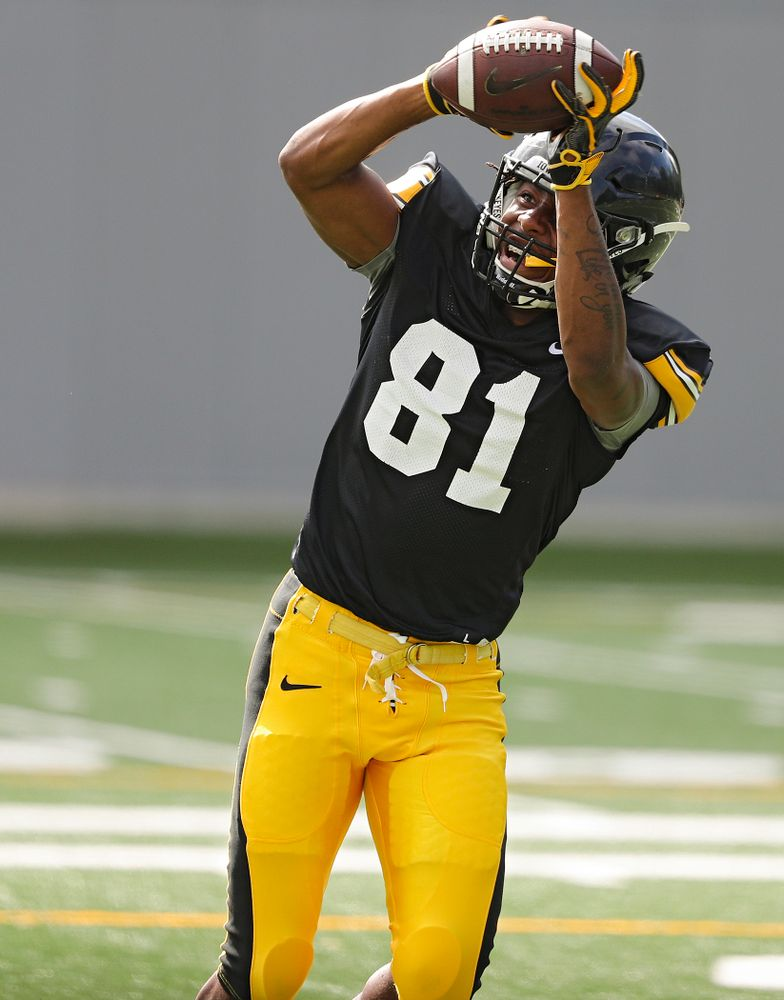 Iowa Hawkeyes wide receiver Desmond Hutson (81) pulls in a pass during Fall Camp Practice No. 11 at the Hansen Football Performance Center in Iowa City on Wednesday, Aug 14, 2019. (Stephen Mally/hawkeyesports.com)