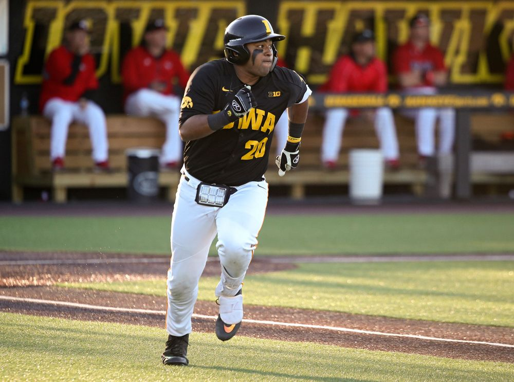 Iowa infielder Izaya Fullard (20) runs after hitting a triple during the third inning of their game at Duane Banks Field in Iowa City on Tuesday, March 3, 2020. (Stephen Mally/hawkeyesports.com)