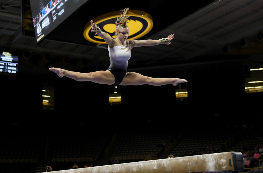 IowaÕs Lauren Guerin competes on the beam against Ball State and Air Force Saturday, January 11, 2020 at Carver-Hawkeye Arena. (Brian Ray/hawkeyesports.com)