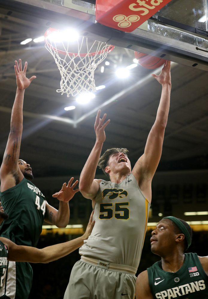 Iowa Hawkeyes forward Luka Garza (55) against the Michigan State Spartans Thursday, January 24, 2019 at Carver-Hawkeye Arena. (Brian Ray/hawkeyesports.com)