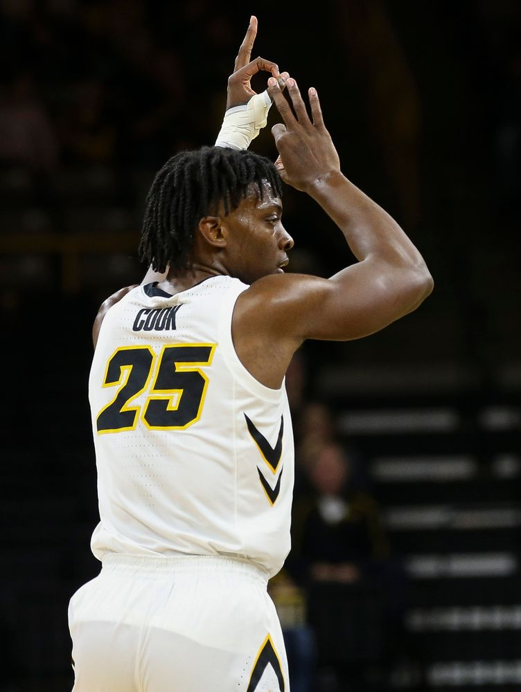 Iowa Hawkeyes forward Tyler Cook (25) reacts after hitting a 3-pointer during a game against Guilford College at Carver-Hawkeye Arena on November 4, 2018. (Tork Mason/hawkeyesports.com)