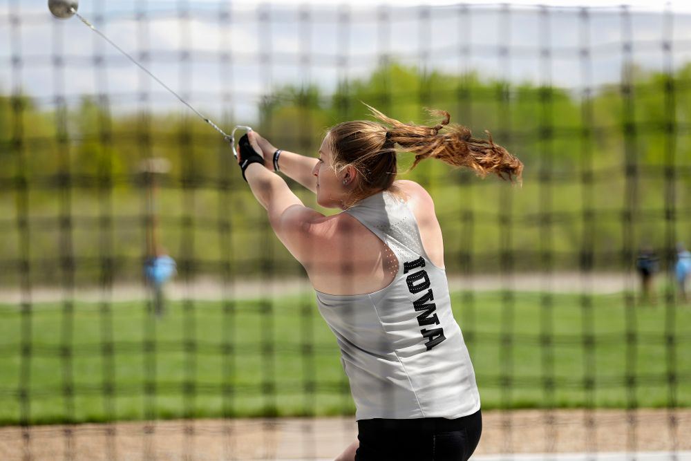 Iowa's Allison Wahrman throws during the women's hammer throw event on the first day of the Big Ten Outdoor Track and Field Championships at Francis X. Cretzmeyer Track in Iowa City on Friday, May. 10, 2019. (Stephen Mally/hawkeyesports.com)