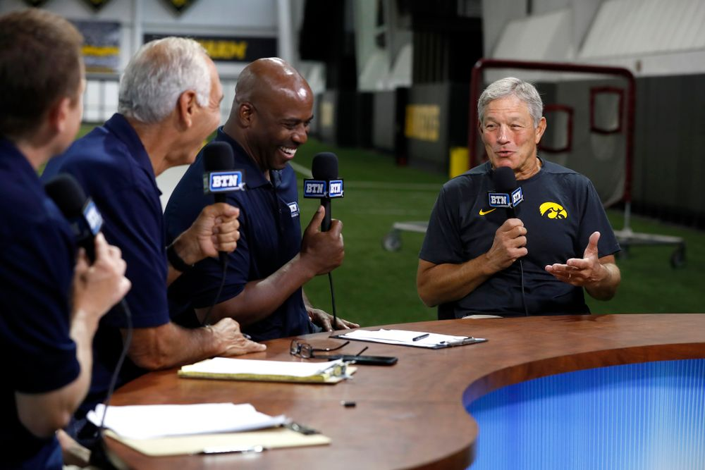 Iowa Hawkeyes head coach Kirk Ferentz on the Big Ten Network set Monday, August 20, 2018 at the Hansen Football Performance Center. (Brian Ray/hawkeyesports.com)