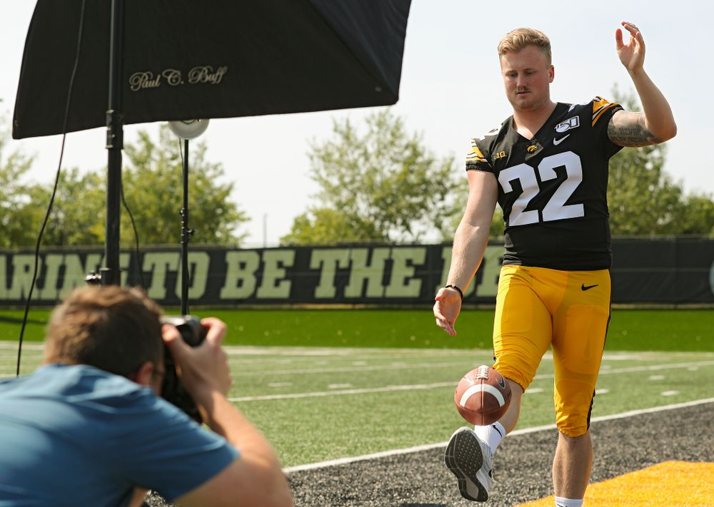 Iowa Hawkeyes punter Michael Sleep-Dalton (22) poses for a picture during Iowa Football Media Day at the Hansen Football Performance Center in Iowa City on Friday, Aug 9, 2019. (Stephen Mally/hawkeyesports.com)