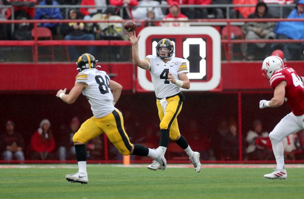 Iowa Hawkeyes quarterback Nate Stanley (4) against the Nebraska Cornhuskers Friday, November 29, 2019 at Memorial Stadium in Lincoln, Neb. (Brian Ray/hawkeyesports.com)