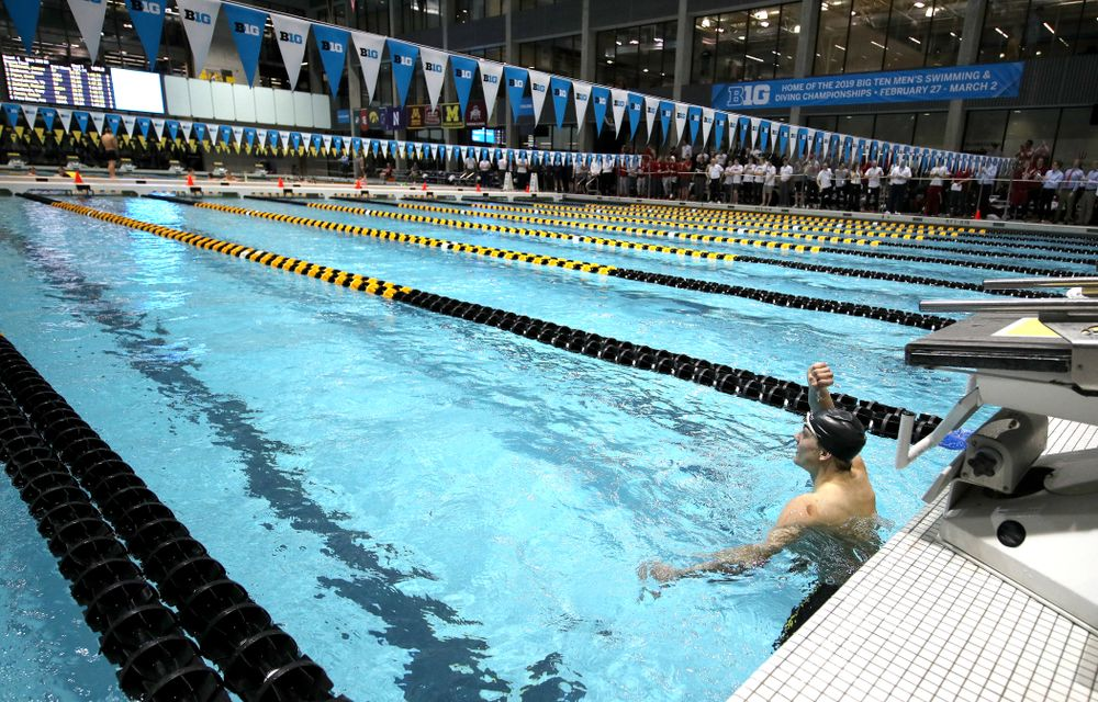 Iowa's Anze Fers Erzen swims the 200-yard IM during the bonus final of the second day at the 2019 Big Ten Swimming and Diving Championships Thursday, February 28, 2019 at the Campus Wellness and Recreation Center. (Brian Ray/hawkeyesports.com)