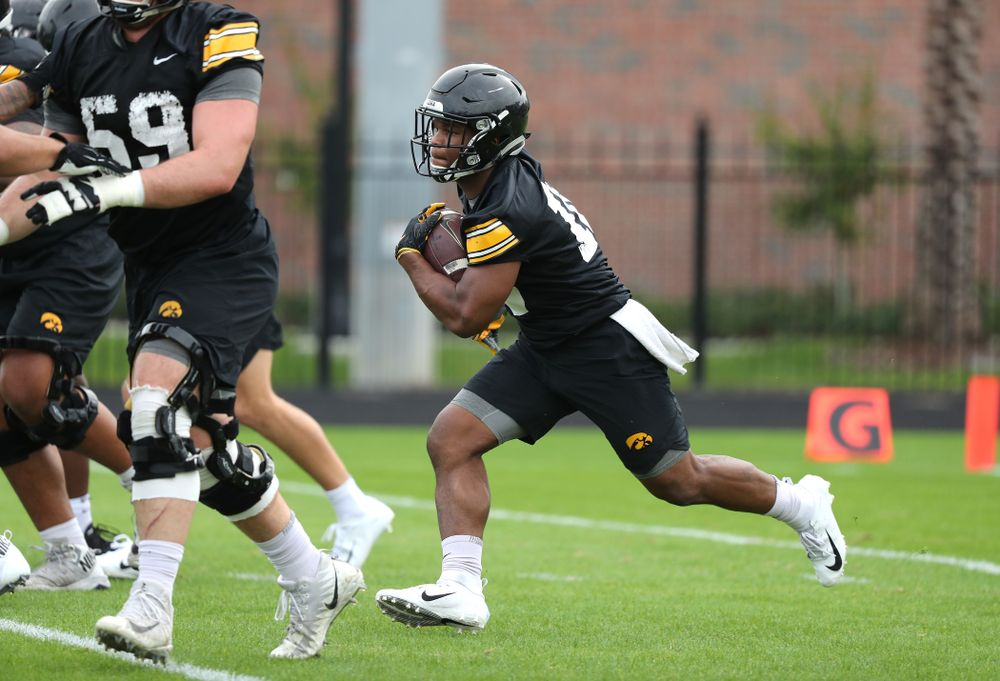 Iowa Hawkeyes running back Mekhi Sargent (10) during the team's first Outback Bowl Practice in Florida Thursday, December 27, 2018 at Tampa University. (Brian Ray/hawkeyesports.com)