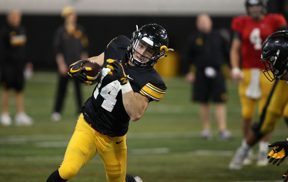 Iowa Hawkeyes wide receiver Kyle Groeneweg (14) during preparation for the 2019 Outback Bowl Wednesday, December 19, 2018 at the Hansen Football Performance Center. (Brian Ray/hawkeyesports.com)