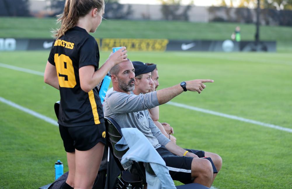 Blair Quinn Associate Head Coach against Western Michigan Thursday, August 22, 2019 at the Iowa Soccer Complex. (Brian Ray/hawkeyesports.com)