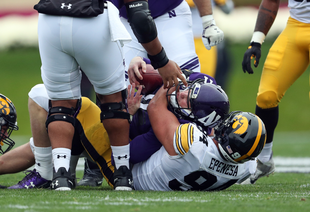 Iowa Hawkeyes defensive end A.J. Epenesa (94) against the Northwestern Wildcats Saturday, October 26, 2019 at Ryan Field in Evanston, Ill. (Brian Ray/hawkeyesports.com)
