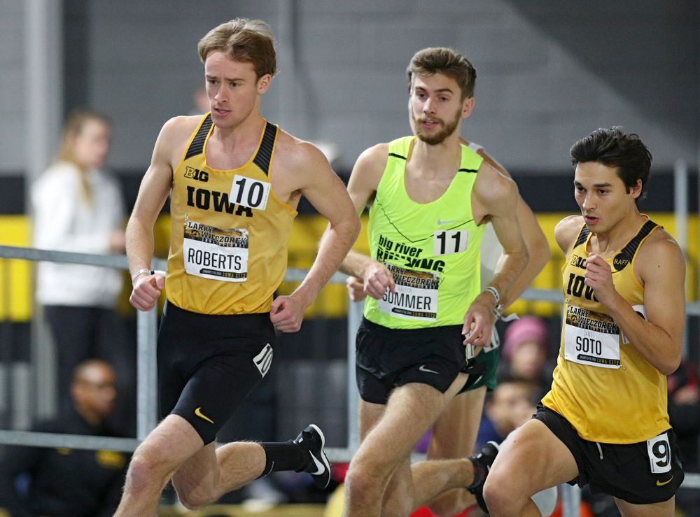 Iowa's Jeff Roberts (from left), Karson Sommer, and Daniel Soto run the men's 1 mile run event during the Larry Wieczorek Invitational at the Recreation Building in Iowa City on Saturday, January 18, 2020. (Stephen Mally/hawkeyesports.com)