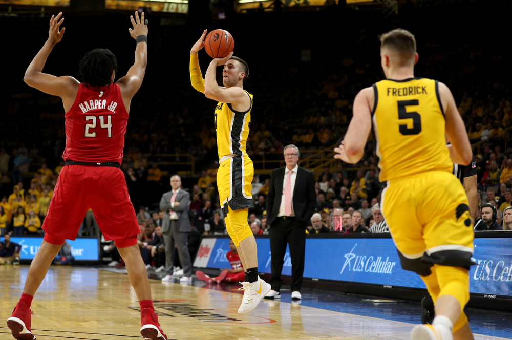 Iowa Hawkeyes guard Connor McCaffery (30) against the Rutgers Scarlet Knights  Wednesday, January 22, 2020 at Carver-Hawkeye Arena. (Brian Ray/hawkeyesports.com)