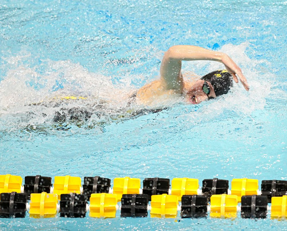 Iowa's Allyssa Fluit swims the 800 yard freestyle relay event during the 2020 Big Ten Women's Swimming and Diving Championships at the Campus Recreation and Wellness Center in Iowa City on Wednesday, February 19, 2020. (Stephen Mally/hawkeyesports.com)