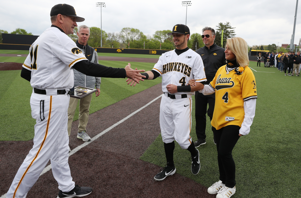 Iowa Hawkeyes infielder Mitchell Boe (4) during senior day festivities before their game against Michigan State Sunday, May 12, 2019 at Duane Banks Field. (Brian Ray/hawkeyesports.com)