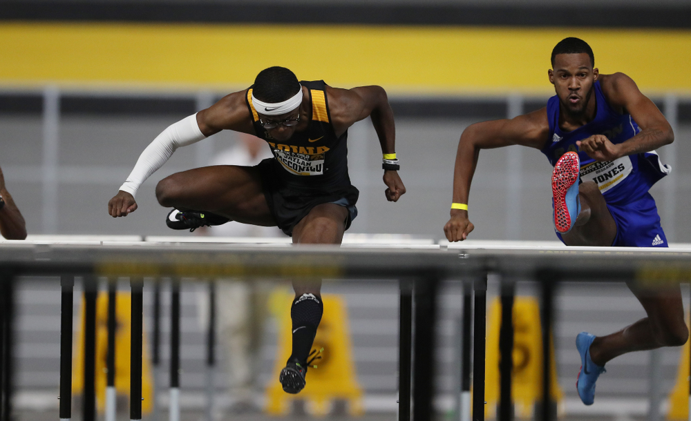 Iowa's Jaylan McConico competes in the 60-meter hurdles during the Black and Gold Premier meet Saturday, January 26, 2019 at the Recreation Building. (Brian Ray/hawkeyesports.com)