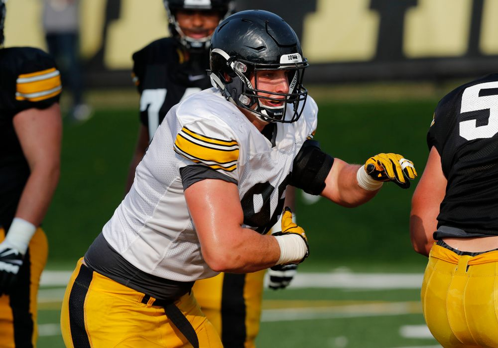 Iowa Hawkeyes defensive end Matt Nelson (96) during camp practice No. 16 Tuesday, August 21, 2018 at the Hansen Football Performance Center. (Brian Ray/hawkeyesports.com)
