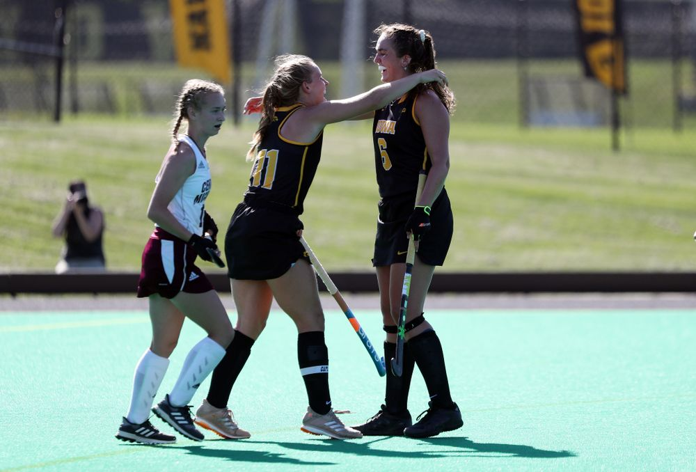 Iowa Hawkeyes defenseman Anthe Nijziel (6) and Katie Birch (11) celebrate a goal against Central Michigan Friday, September 6, 2019 at Grant Field. The Hawkeyes won the game 11-0. (Brian Ray/hawkeyesports.com)