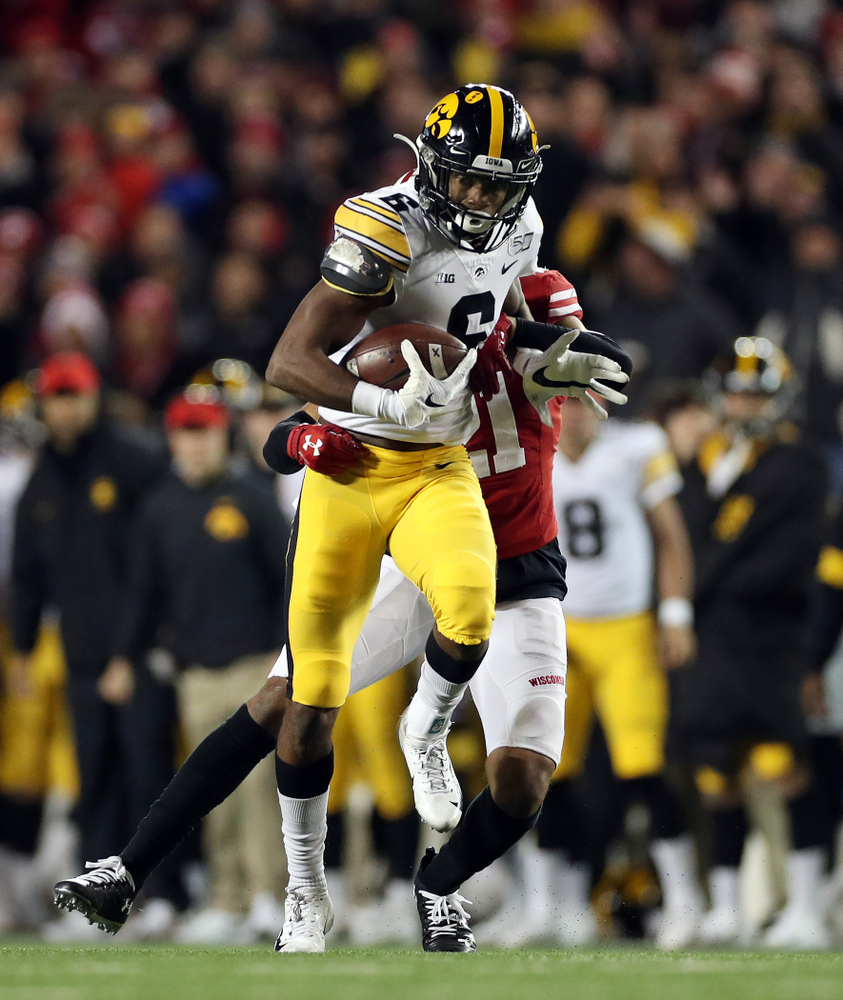Iowa Hawkeyes wide receiver Ihmir Smith-Marsette (6) against the Wisconsin Badgers Saturday, November 9, 2019 at Camp Randall Stadium in Madison, Wisc. (Brian Ray/hawkeyesports.com)