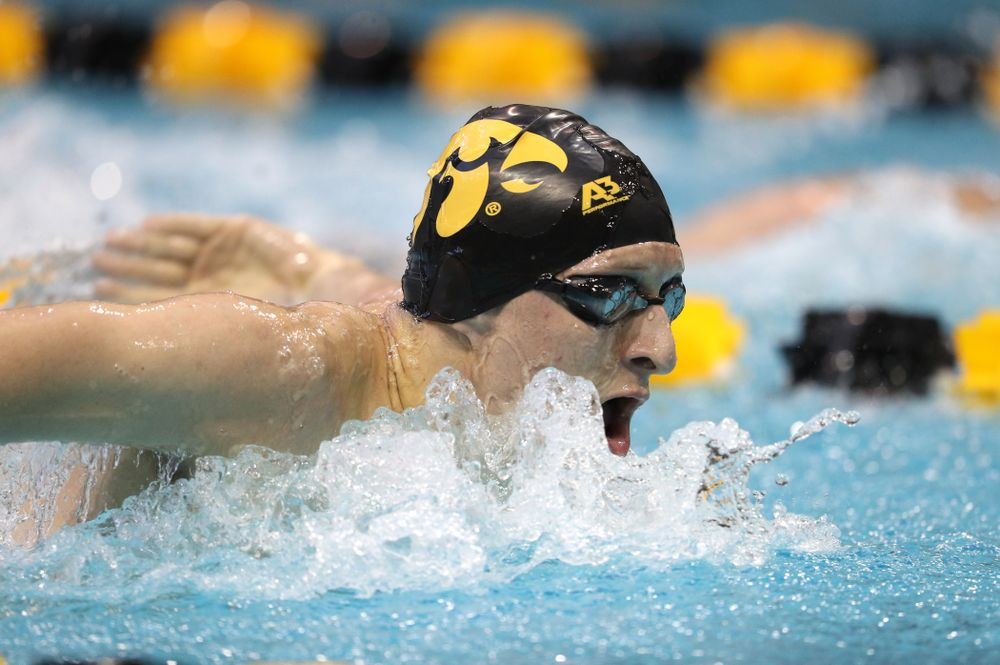 Iowa's Jackson Kuhlers swims the 200 yard butterfly during a double dual against Wisconsin and Northwestern Saturday, January 19, 2019 at the Campus Recreation and Wellness Center. (Brian Ray/hawkeyesports.com)
