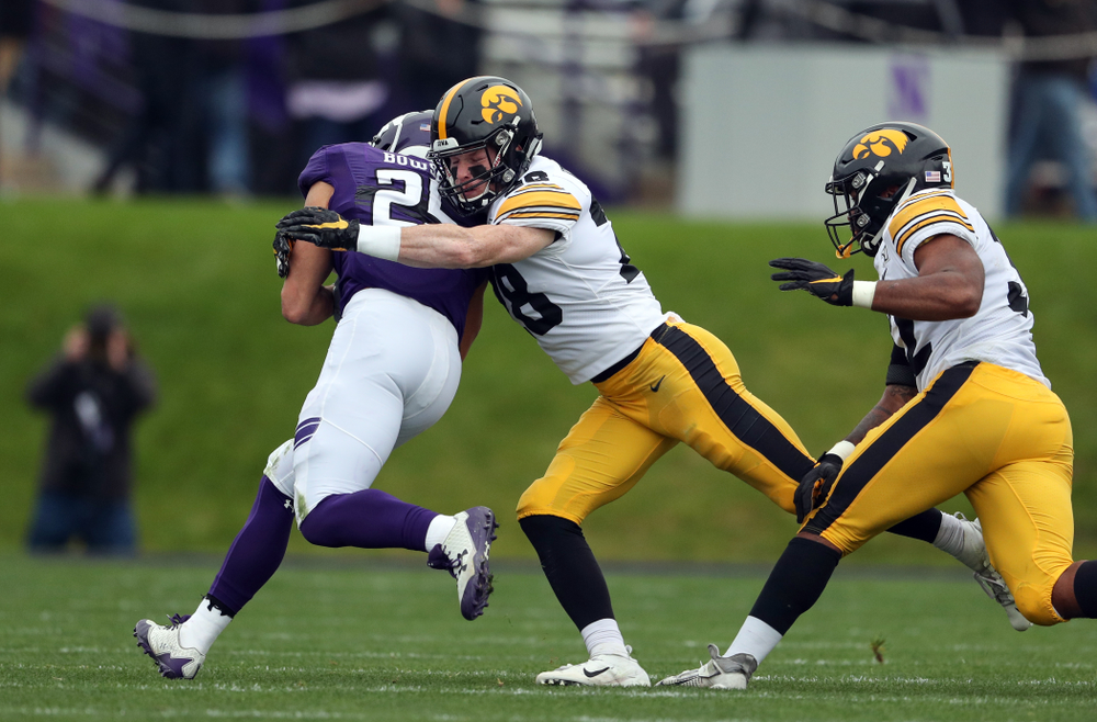 Iowa Hawkeyes defensive back Jack Koerner (28) against the Northwestern Wildcats Saturday, October 26, 2019 at Ryan Field in Evanston, Ill. (Brian Ray/hawkeyesports.com)
