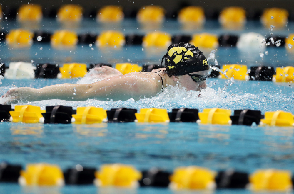 IowaÕs Amy Lenderink swims the 100 yard butterfly against the Michigan Wolverines Friday, November 1, 2019 at the Campus Recreation and Wellness Center. (Brian Ray/hawkeyesports.com)