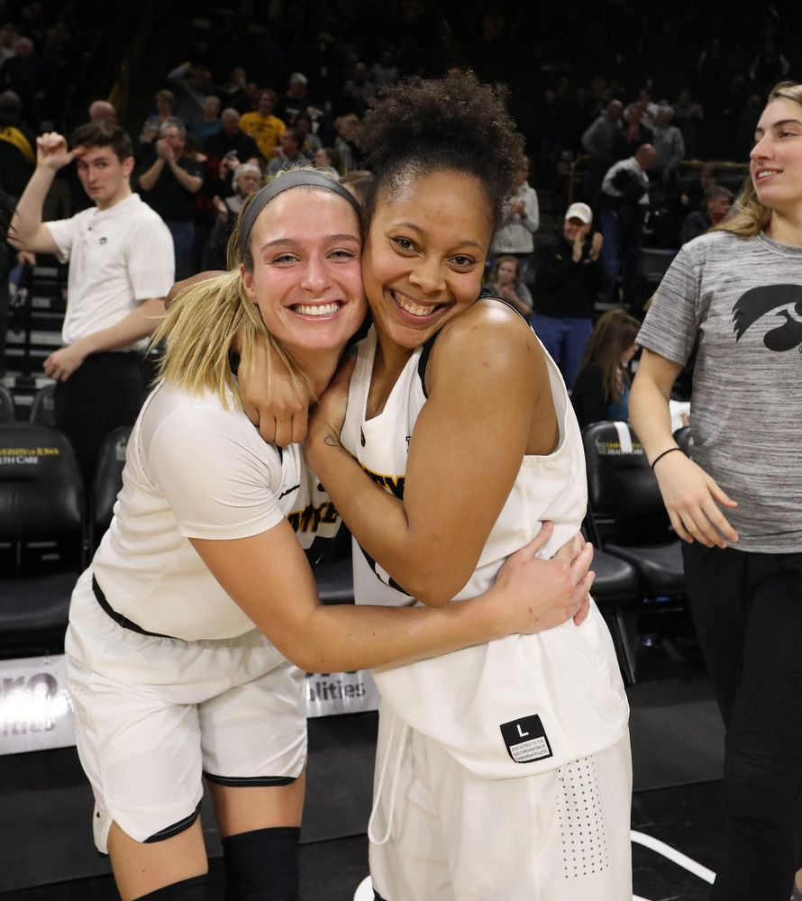 Iowa Hawkeyes guard Makenzie Meyer (3) and guard Tania Davis (11) against the Michigan Wolverines Thursday, January 17, 2019 at Carver-Hawkeye Arena. (Brian Ray/hawkeyesports.com)