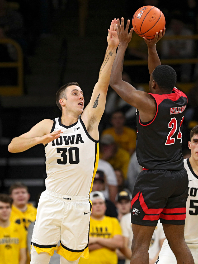 Iowa Hawkeyes guard Connor McCaffery (30) defends during the second half of their game at Carver-Hawkeye Arena in Iowa City on Friday, Nov 8, 2019. (Stephen Mally/hawkeyesports.com)
