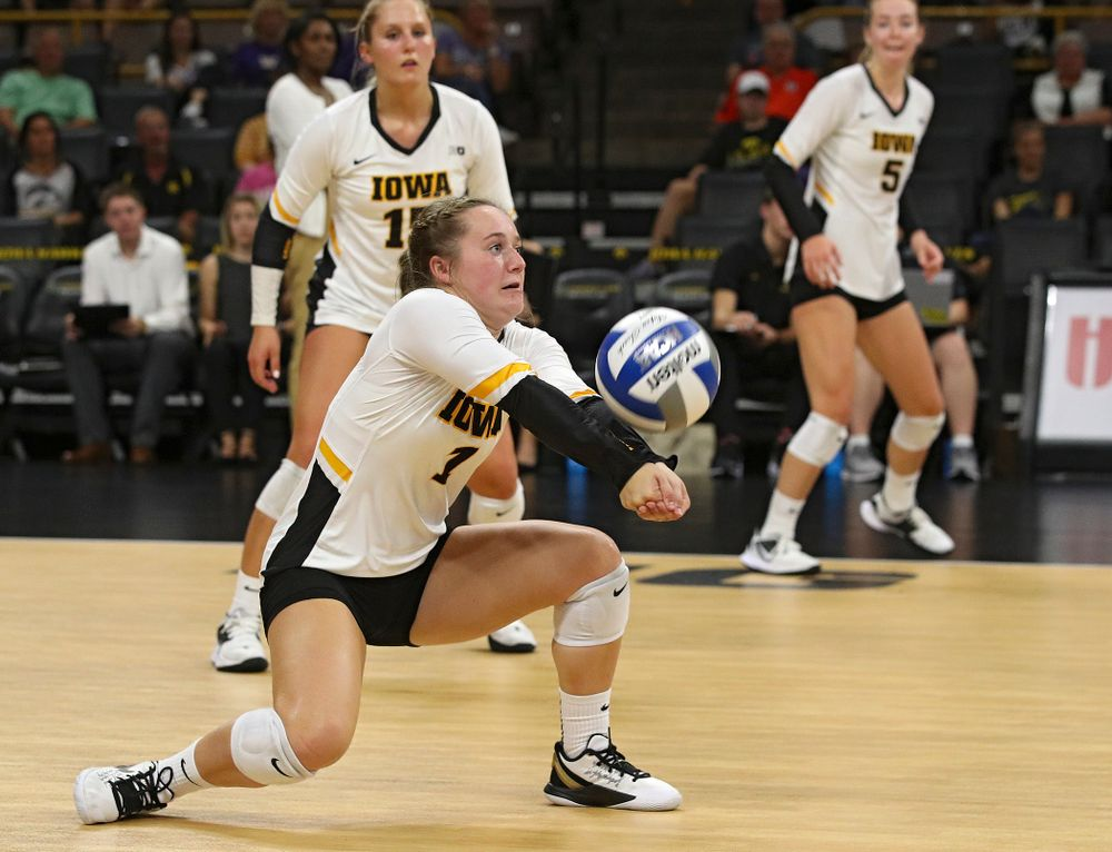 Iowa's Joslyn Boyer (1) gets a dig during their Big Ten/Pac-12 Challenge match at Carver-Hawkeye Arena in Iowa City on Saturday, Sep 7, 2019. (Stephen Mally/hawkeyesports.com)