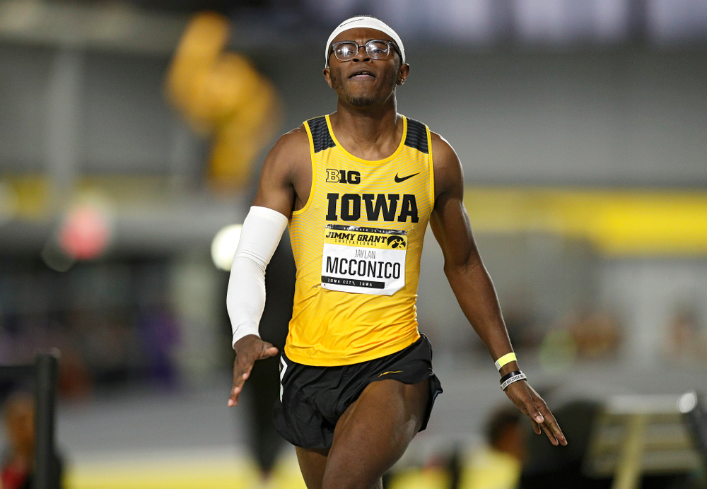 Iowa's Jaylan McConico competes in the men's 60 meter hurdles prelims event during the Jimmy Grant Invitational at the Recreation Building in Iowa City on Saturday, December 14, 2019. (Stephen Mally/hawkeyesports.com)