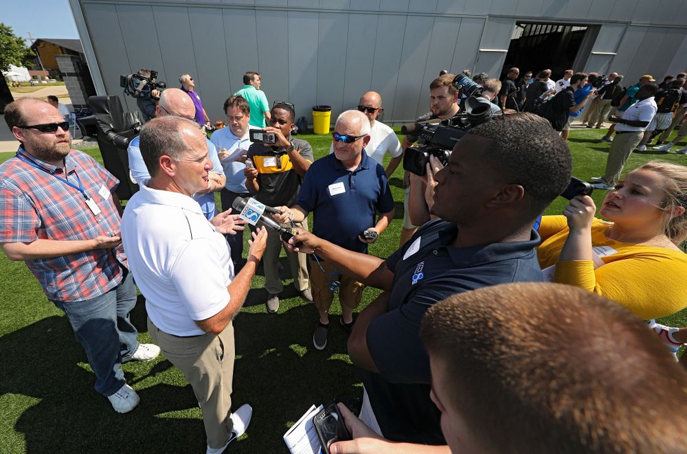 Iowa Hawkeyes defensive coordinator Phil Parker answers questions during Iowa Football Media Day at the Hansen Football Performance Center in Iowa City on Friday, Aug 9, 2019. (Stephen Mally/hawkeyesports.com)