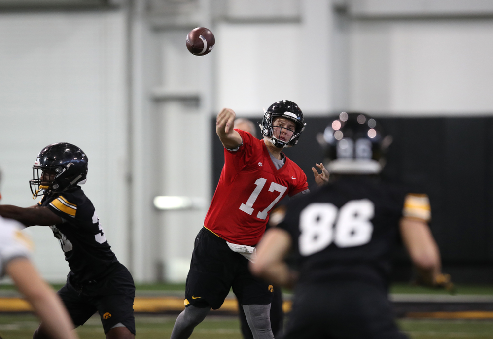 Iowa Hawkeyes quarterback Ryan Schmidt (17) during preparation for the 2019 Outback Bowl Tuesday, December 18, 2018 at the Hansen Football Performance Center. (Brian Ray/hawkeyesports.com)