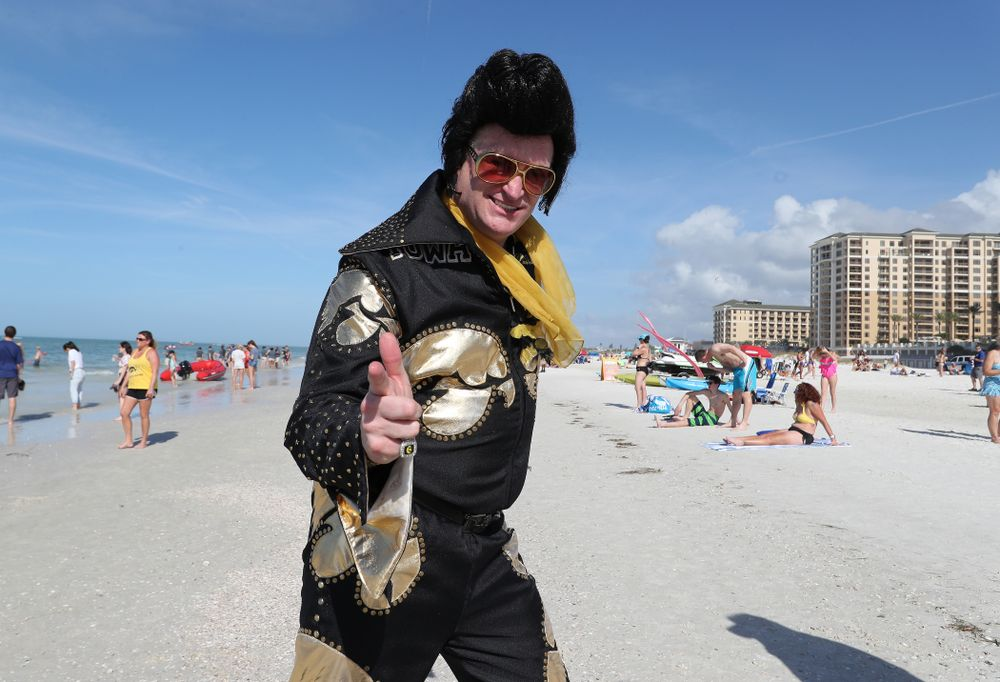 Hawkeye Elvis during the Outback Bowl Beach Day Sunday, December 30, 2018 at Clearwater Beach. (Brian Ray/hawkeyesports.com)