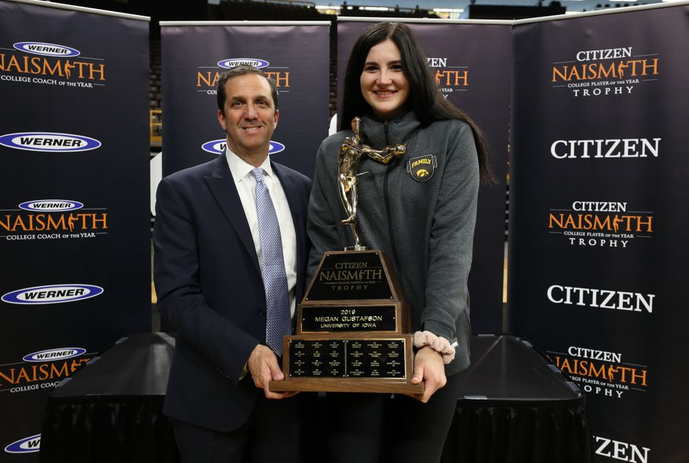 Iowa Hawkeyes forward Megan Gustafson (10) with the Naismith Player Of The Year Trophy during the teamÕs Celebr-Eight event Wednesday, April 24, 2019 at Carver-Hawkeye Arena. (Brian Ray/hawkeyesports.com)