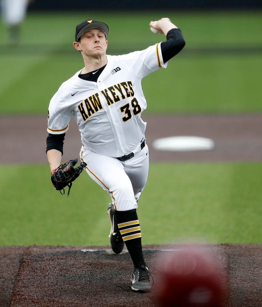 Iowa Hawkeyes pitcher Trenton Wallace (38) against Coe College Wednesday, April 11, 2018 at Duane Banks Field. (Brian Ray/hawkeyesports.com)