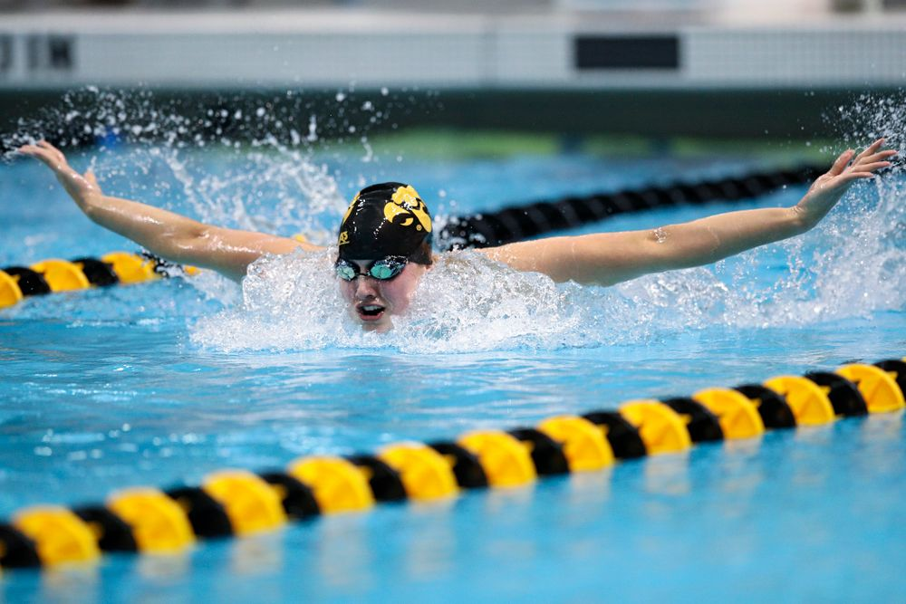 Iowa's Hannah Burvill swims the women's 200 yard butterfly event during their meet at the Campus Recreation and Wellness Center in Iowa City on Friday, February 7, 2020. (Stephen Mally/hawkeyesports.com)