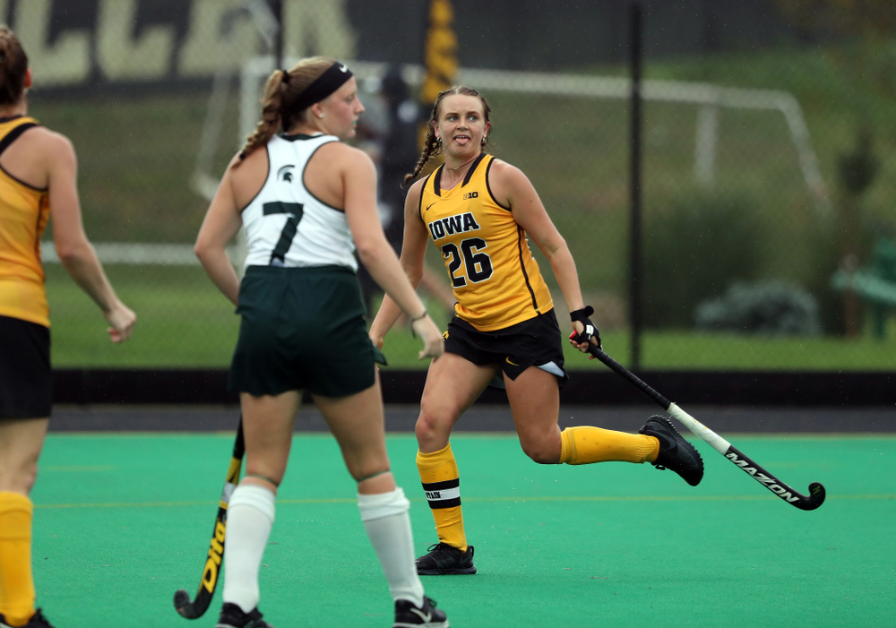 Iowa Hawkeyes forward Maddy Murphy (26) against the Michigan State Spartans Sunday, September 29, 2019 at Grant Field. (Brian Ray/hawkeyesports.com)