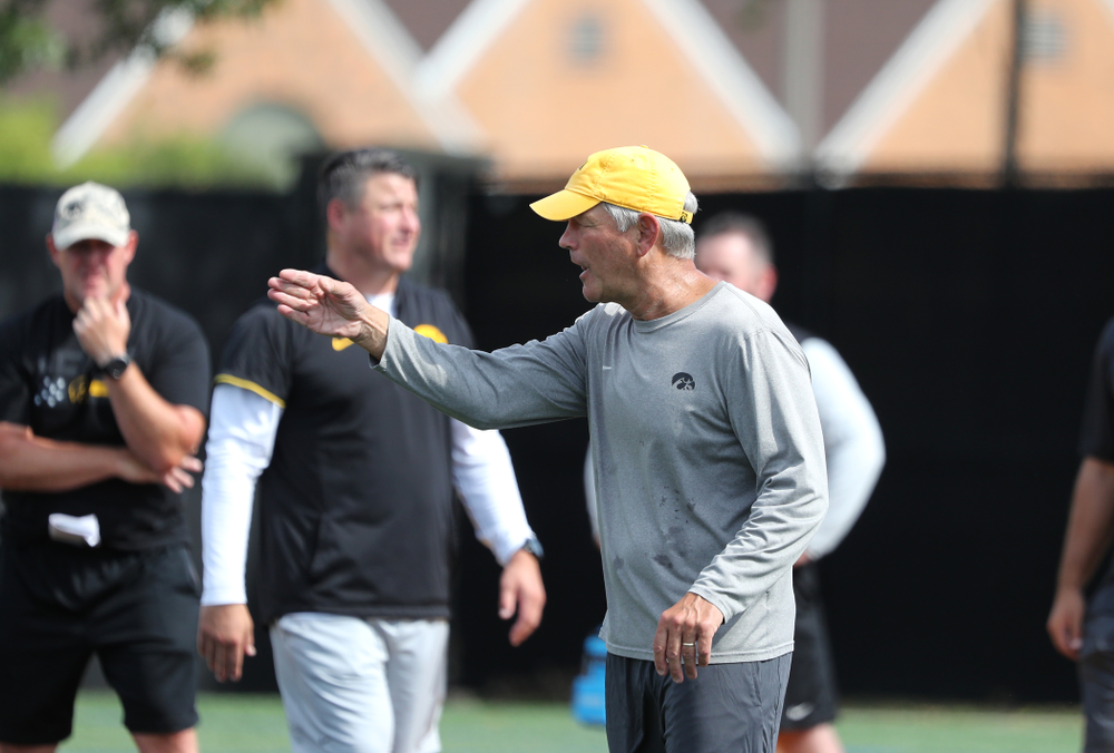 Iowa Hawkeyes head coach Kirk Ferentz during Fall Camp Practice No. 4 Monday, August 5, 2019 at the Ronald D. and Margaret L. Kenyon Football Practice Facility. (Brian Ray/hawkeyesports.com)