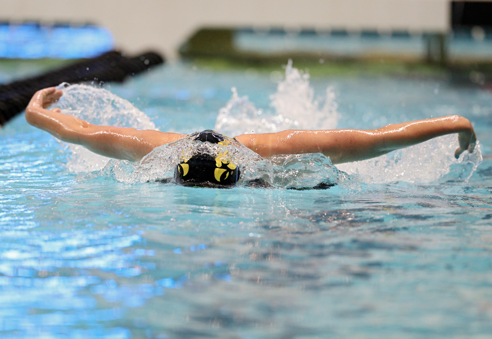 Iowa's Sarah Schemmel swims the women's 100 yard butterfly C finals event during the 2020 Women's Big Ten Swimming and Diving Championships at the Campus Recreation and Wellness Center in Iowa City on Friday, February 21, 2020. (Stephen Mally/hawkeyesports.com)