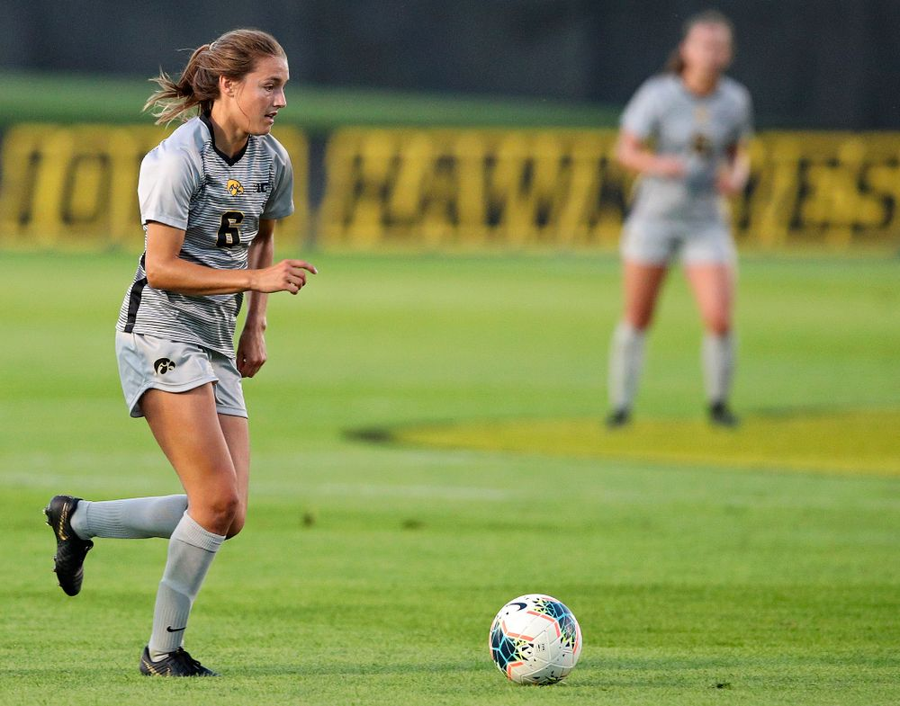 Iowa midfielder Isabella Blackman (6) moves with the ball during the first half of their match at the Iowa Soccer Complex in Iowa City on Friday, Sep 13, 2019. (Stephen Mally/hawkeyesports.com)