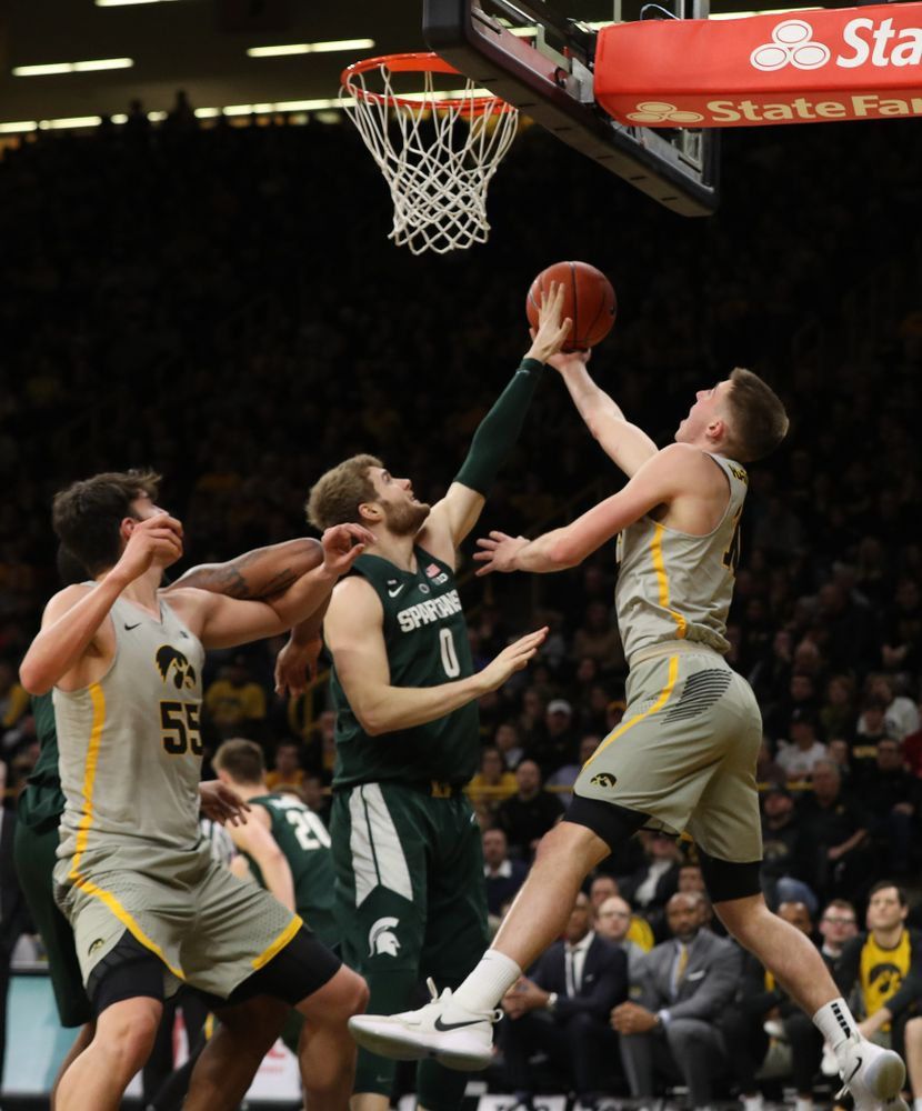 Iowa Hawkeyes guard Joe Wieskamp (10) against the Michigan State Spartans Thursday, January 24, 2019 at Carver-Hawkeye Arena. (Brian Ray/hawkeyesports.com)