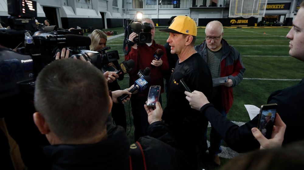 Iowa Hawkeyes head coach Rick Heller answers questions from reporters during the team's annual media day Thursday, February 8, 2018 in the indoor practice facility. (Brian Ray/hawkeyesports.com)