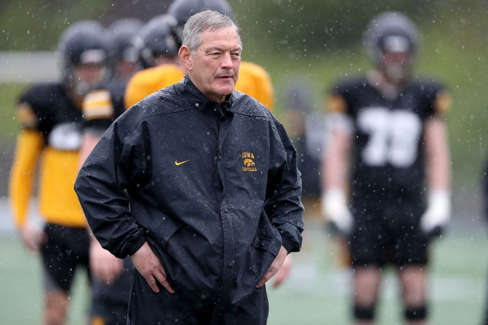 Iowa Hawkeyes head coach Kirk Ferentz watches the action during practice Monday, December 23, 2019 at Mesa College in San Diego. (Brian Ray/hawkeyesports.com)