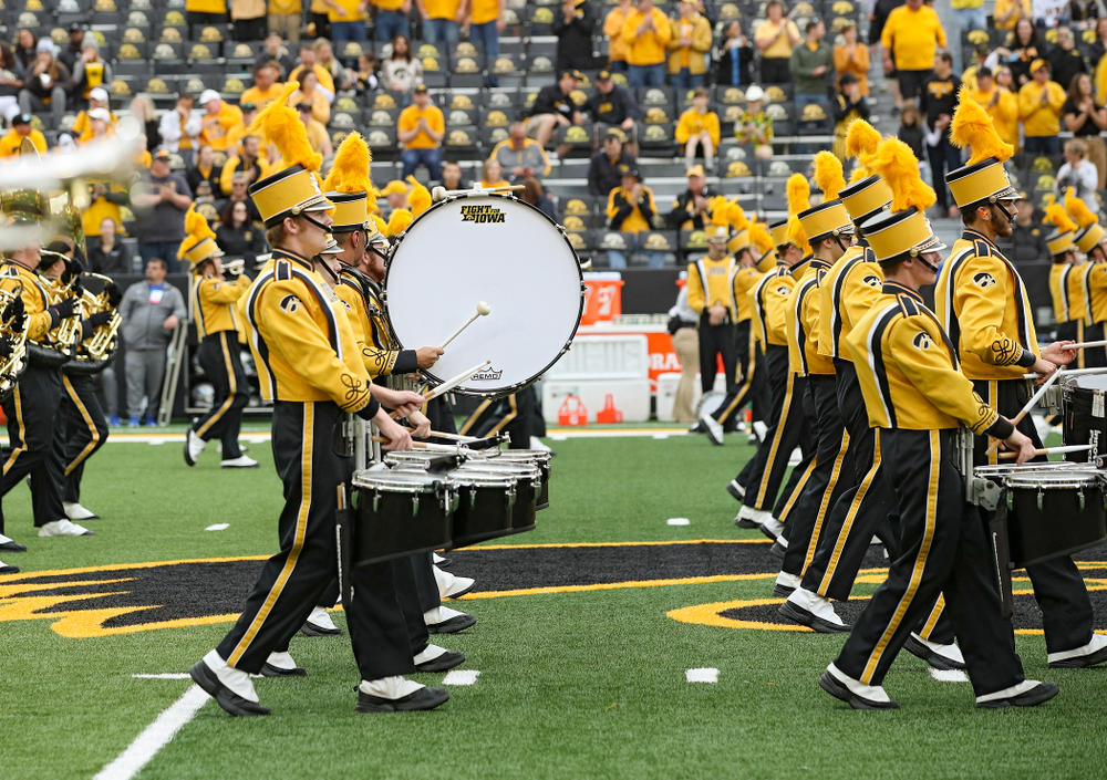 The Hawkeye Marching Band performs before their game at Kinnick Stadium in Iowa City on Saturday, Sep 28, 2019. (Stephen Mally/hawkeyesports.com)